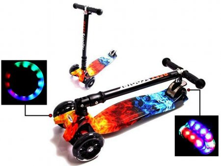 Cамокат MAXI FIRE & ACE складной руль и светящиеся колеса