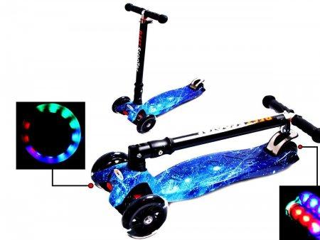 Cамокат MAXI SPАCE складная ручка и светящиеся колеса